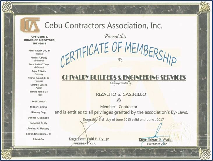 Newly member – Cebu Contractors Association, Inc  | Chivalry